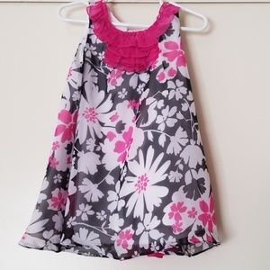 Girls summer dress black and pick with white flowe